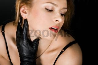 pretty girl in black bra