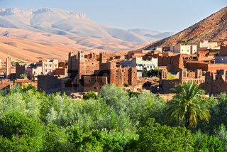 Old berber architecture near the city of Tamellalt in Atlas Mountains region in Morocco.