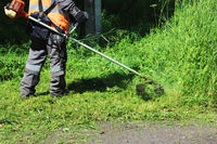 Worker mowing grass with a trimming machine.