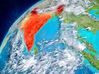 Space view of India in red