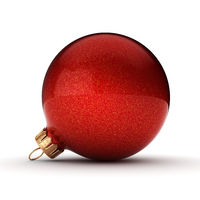 3D rendering red Christmas ball