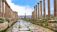 wet Cardo Maximus road in Jerash (ancient Gerasa)