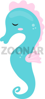 Cute seahorse icon, flat, cartoon style. Isolated on white background. Vector illustration.