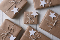 Christmas presents with wood star gift tags