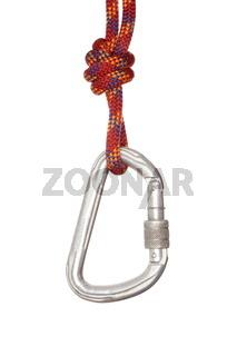 Karabinerhaken hängt am roten Seil