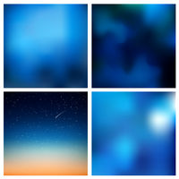 Abstract vector blue blurred background set 4 colors set. Square blurred backgrounds set - sky clouds sea ocean beach colors