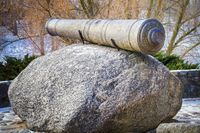 Medieval cannon on stone