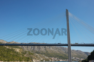 Modern Franzo Tudjman's cable-stayed bridge in Dubrovnik, Croatia