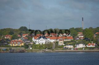 View of Helsingor or Elsinore from Oresund strait in Denmark