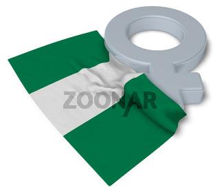 symbol für weiblich und flagge von nigeria - 3d illustration