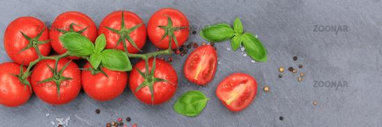 Tomaten Tomate rot Gemüse Banner Schiefertafel von oben