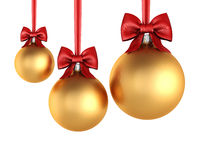 3D rendering golden Christmas balls with red ribbon and bow