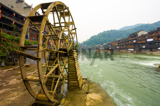 Fenghuang Wood Water Wheel Riverside Houses View