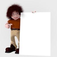 Cartoon character with big board
