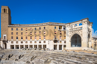 LECCE, ITALY - August 23, 2017: tourists visiting Piazza Santo Oronzo, heart of the old town