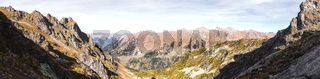A horizontal panorama of five images. top of the Caucasian gorge in the Arkhyz. Lake view of the lower point