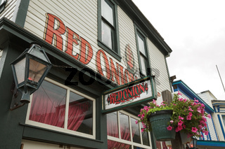 Facade of Famous Red Onion Sallon in Skagway Alaska