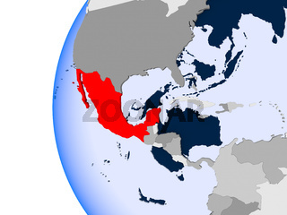 Map of Mexico on political globe