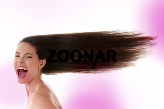 Woman with long hairs