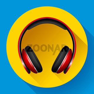 Realistic Vector headphones icon. Flat design style.