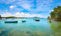 Beautiful landscape. Boats in a sea