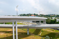 Two high overpasses on a modern town