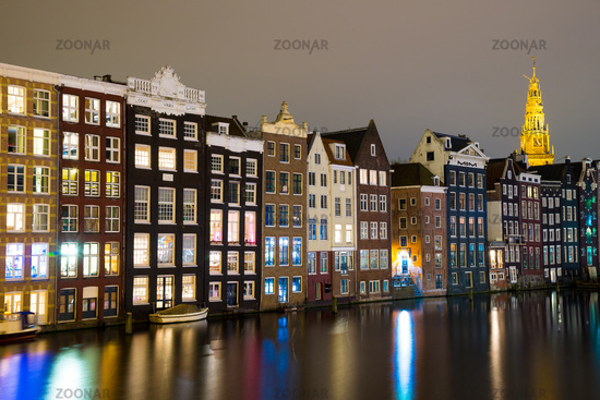 Night view of Amsterdam, The Netherlands