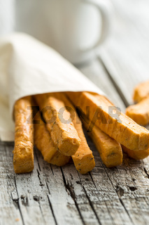 Crispy bread sticks.