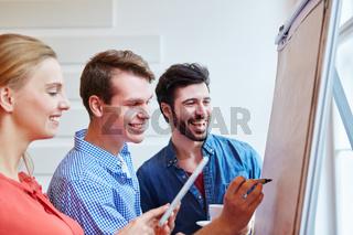 Erfolgreiche Geschäftsleute arbeiten am Flipchart