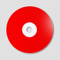 Red CD - DVD mockup template isolated on Grey