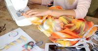 Crop female sewing