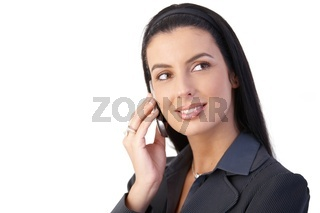 Happy businesswoman with cellphone