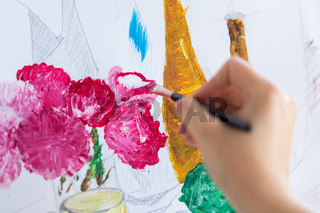 artist with brush painting still life picture