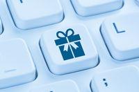 Geschenke Geschenk online Shopping einkaufen bestellen Internet blau Computer Tastatur