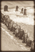Retro sepia image of an old wooden breakwaters