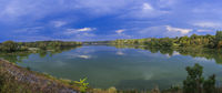 Panorama of lake with clouds