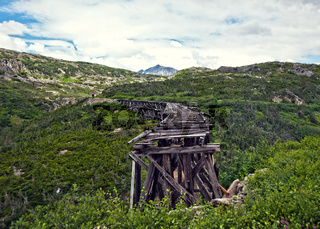 Old bridge on White Pass and Yukon Route Railway train ride