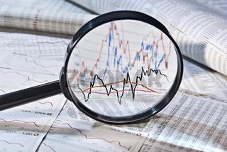 Lupe und Aktienkurse