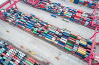 aerial view of container yard