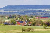 Farm in a rural landscape view