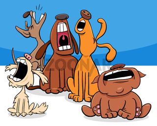 barking or howling dogs cartoon characters group