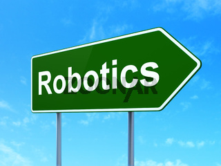 Science concept: Robotics on road sign background