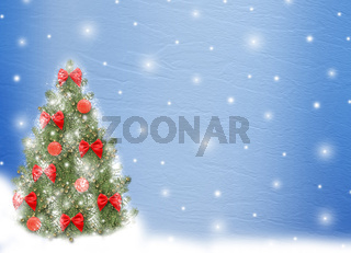 Card for congratulation. Christmas tree with balls and bows