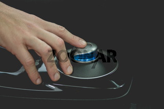 Start button in electro car.