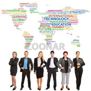 Business Team global mit Internet Technologie