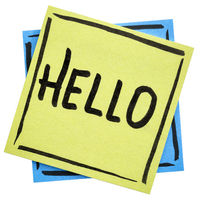 Hello greeting on sticky note