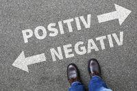 Negativ positiv gut schlecht Business Konzept denken Einstellung Entscheidung