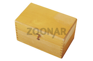 old wooden box isolated over white background for your design