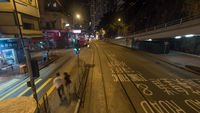 Night Hong Kong street, view from double-decker tram