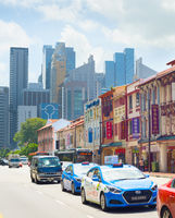 Cars on road, Chinatown, Singapore